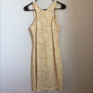 Champagne sparkly homecoming dress